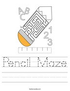 Pencil Maze Handwriting Sheet