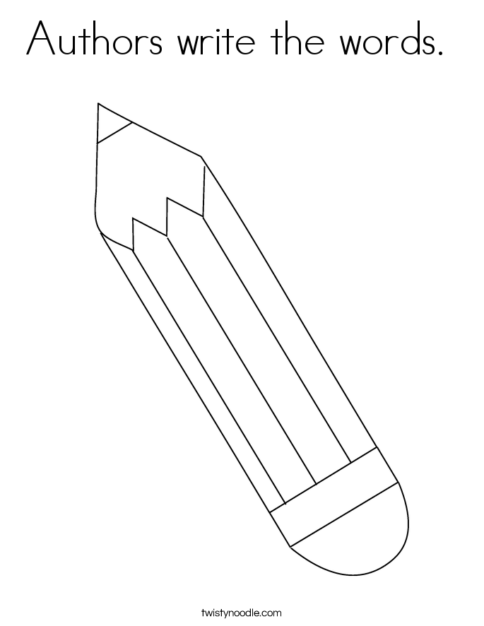Authors write the words.  Coloring Page