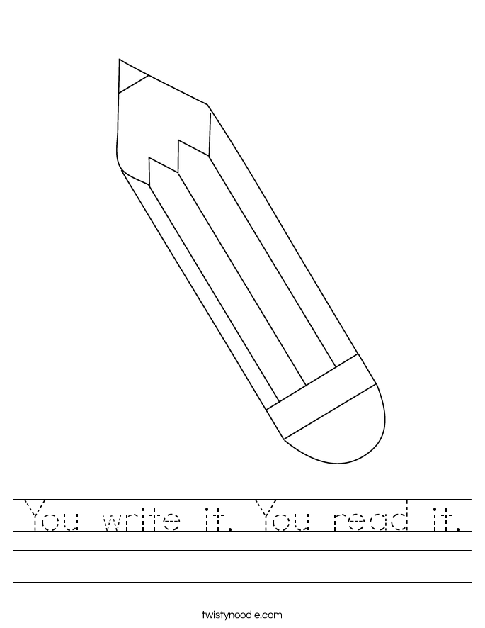 You write it. You read it. Worksheet