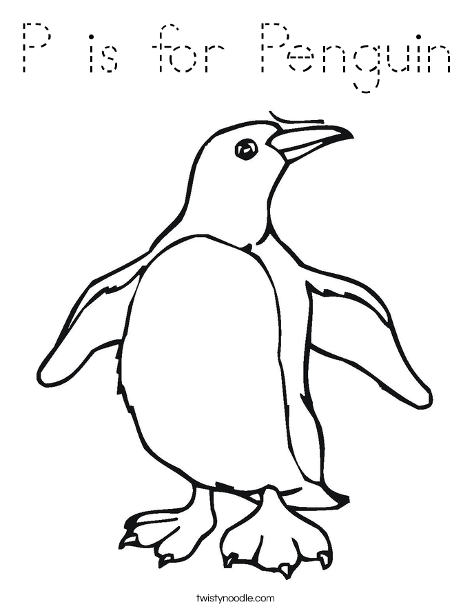P is for Penguin Coloring Page - Tracing - Twisty Noodle