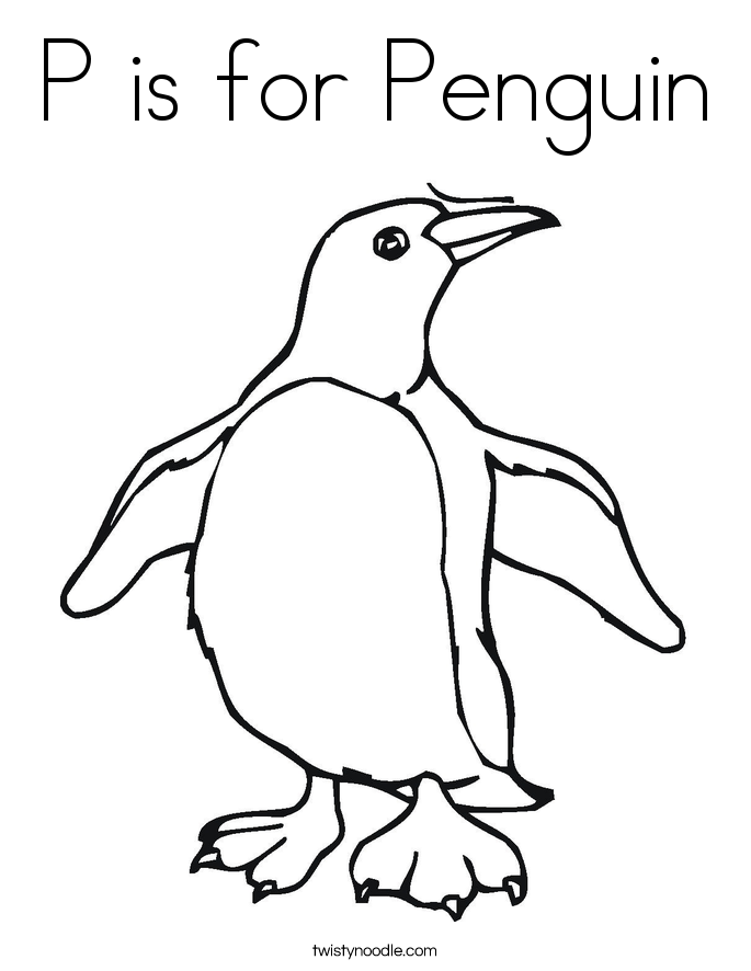 P is for Penguin Coloring Page