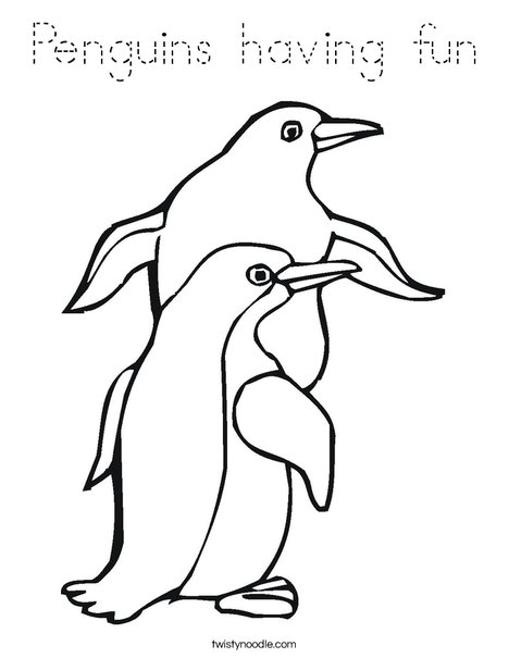 Two Penguin Coloring Page