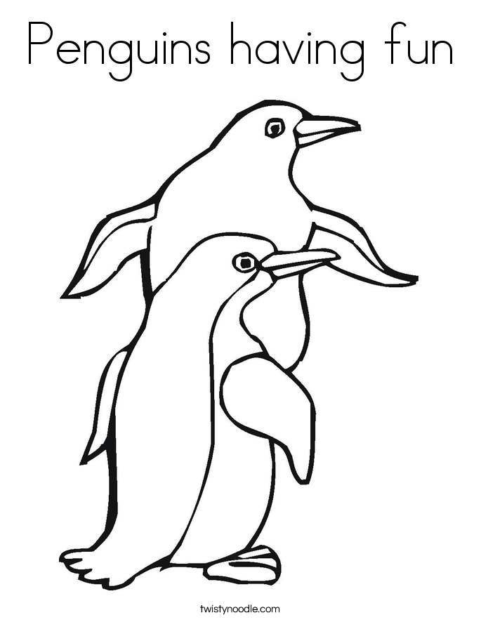 Penguins having fun Coloring Page