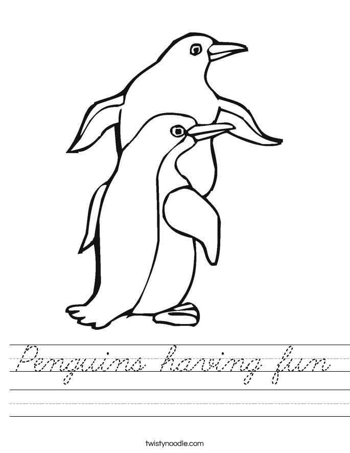 Penguins having fun Worksheet