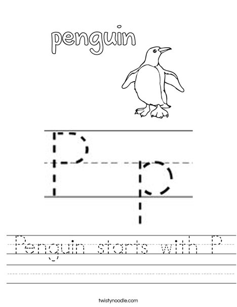 Penguin starts with P Worksheet