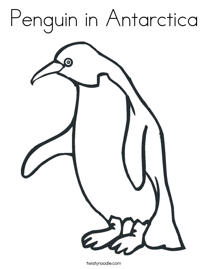 Penguin in Antarctica Coloring Page