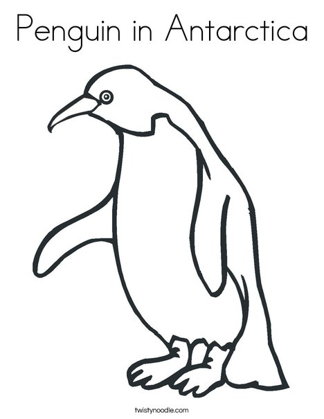 Penguin In Antarctica Coloring Page Twisty Noodle