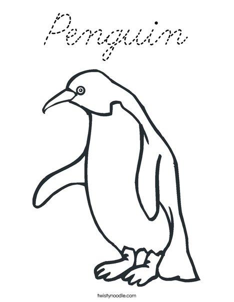 Penguin Coloring Page - Cursive - Twisty Noodle