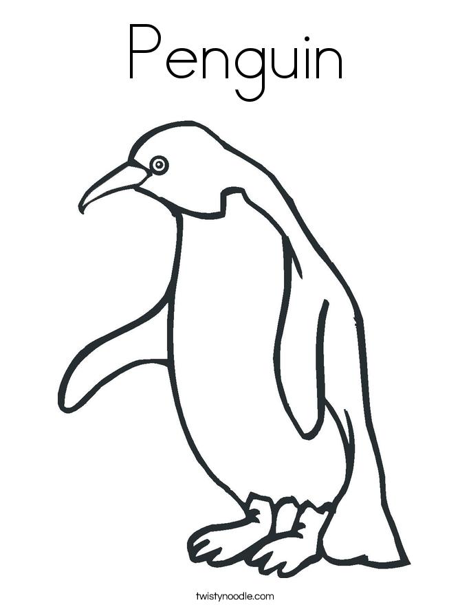 Penguin Coloring Page Twisty Noodle