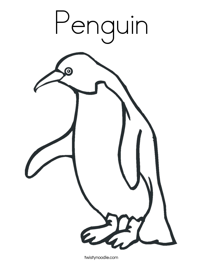 Penguin Coloring Page Twisty Noodle
