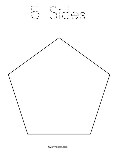 5 Sides Coloring Page Tracing Twisty Noodle Pentagon Coloring Page