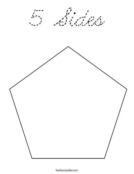 5 sides coloring page cursive twisty noodle for Pentagon coloring page