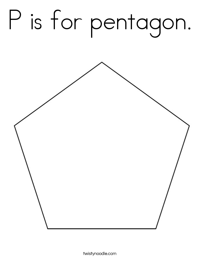 P is for pentagon. Coloring Page
