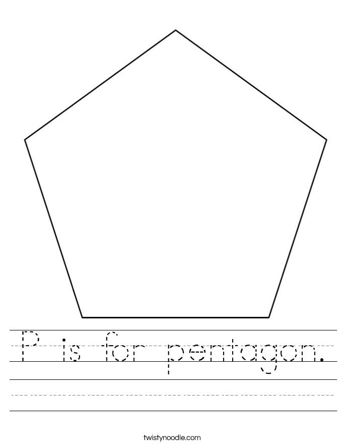 P is for pentagon. Worksheet