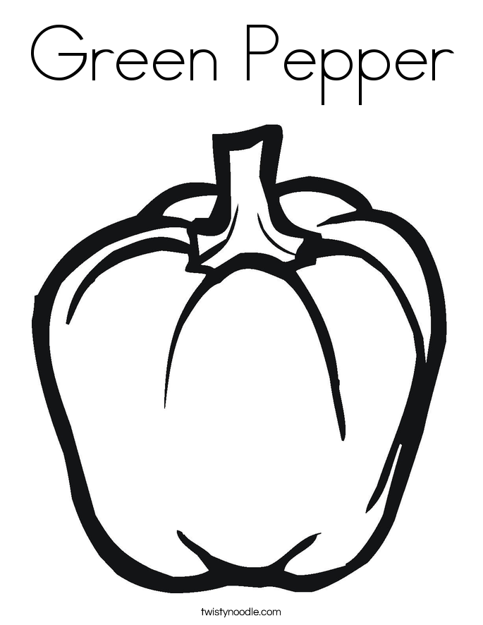 Green Pepper Coloring Page