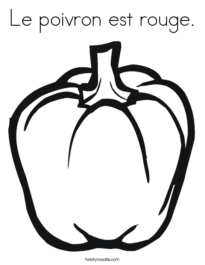 Le poivron est rouge. Coloring Page