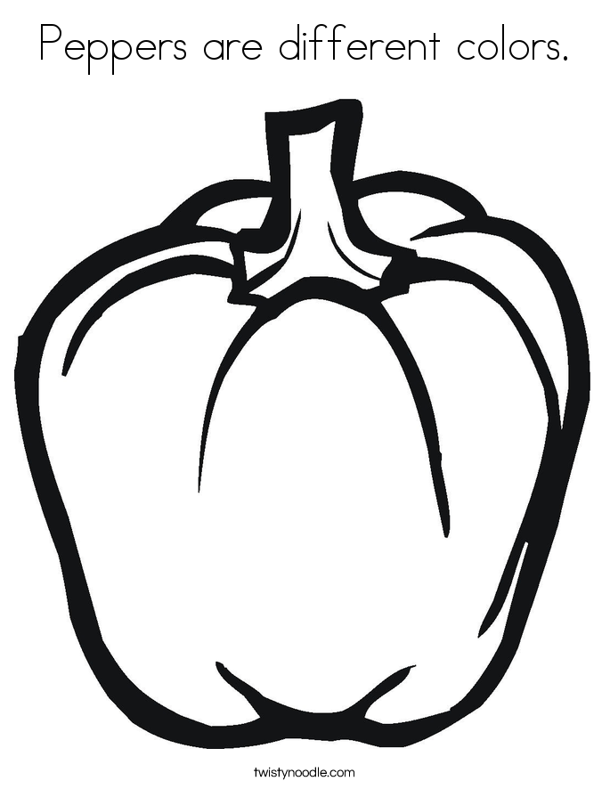 Peppers are different colors. Coloring Page