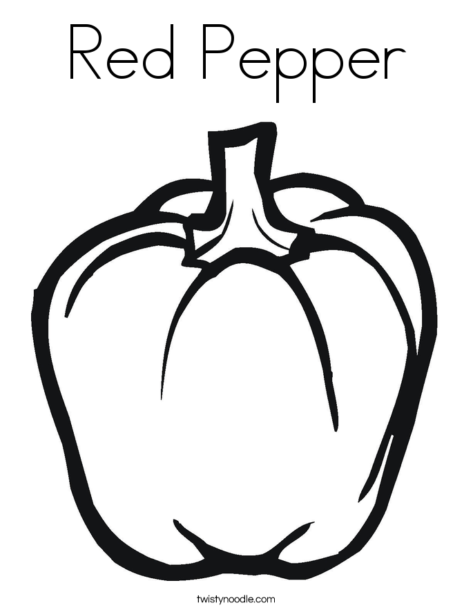 Red Pepper Coloring Page