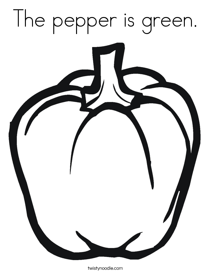 The pepper is green. Coloring Page