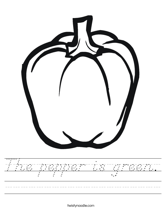 The pepper is green. Worksheet