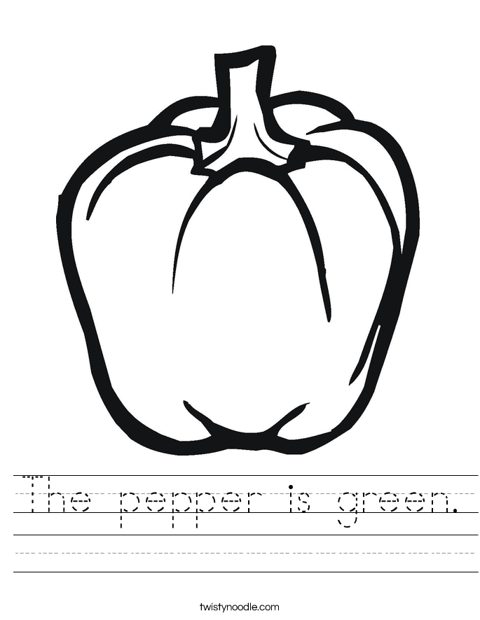 The pepper is green. Worksheet