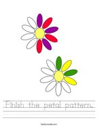 Finish the petal pattern Handwriting Sheet