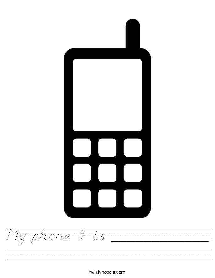 My phone # is ____________ Worksheet