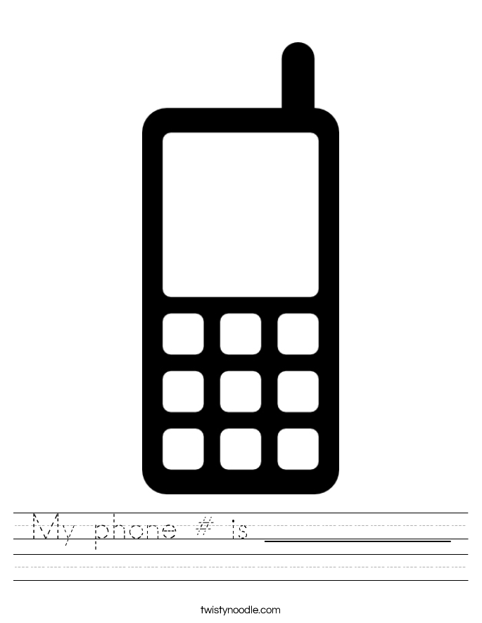 My phone # is ____________ Worksheet