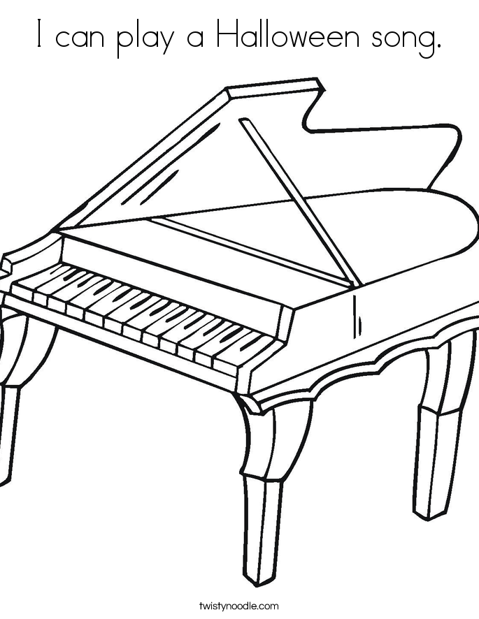 I can play a Halloween song. Coloring Page
