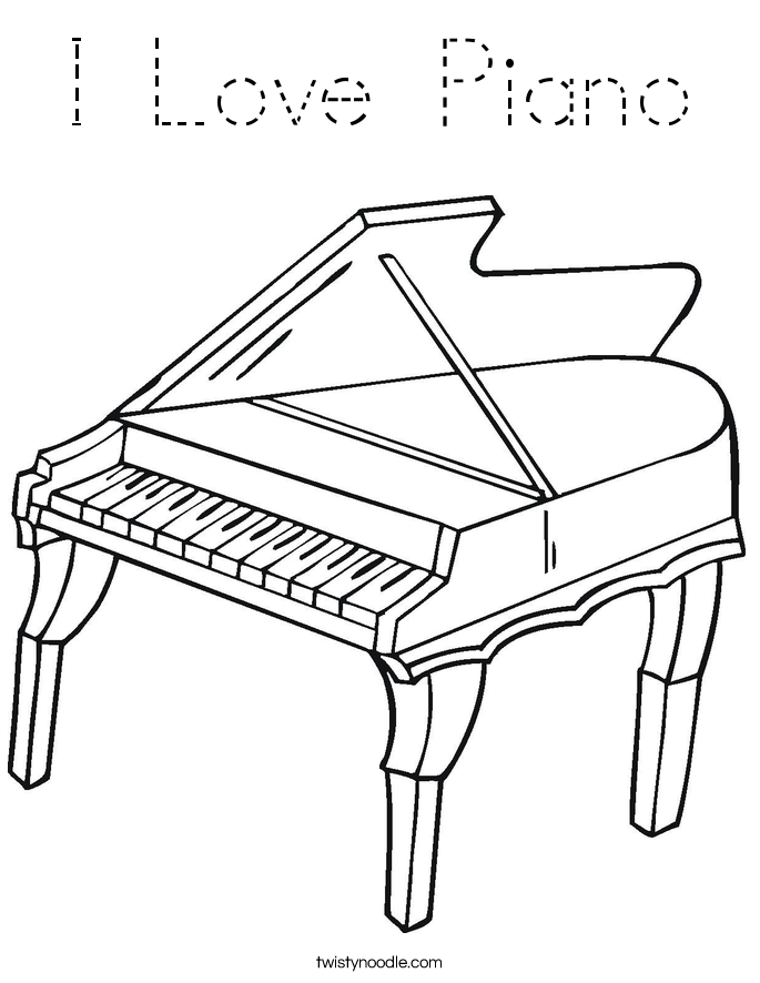 I Love Piano Coloring Page