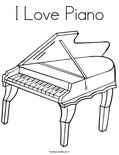 I Love PianoColoring Page