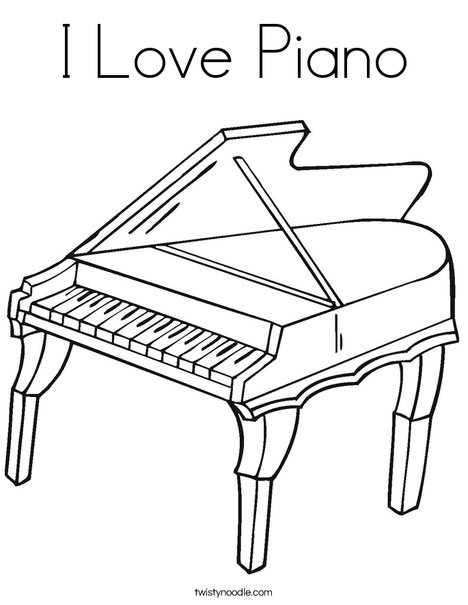 piano coloring pages I Love Piano Coloring Page   Twisty Noodle piano coloring pages