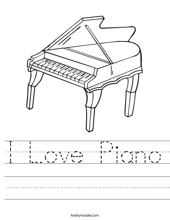 I Love Piano Worksheet