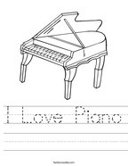 I Love Piano Handwriting Sheet