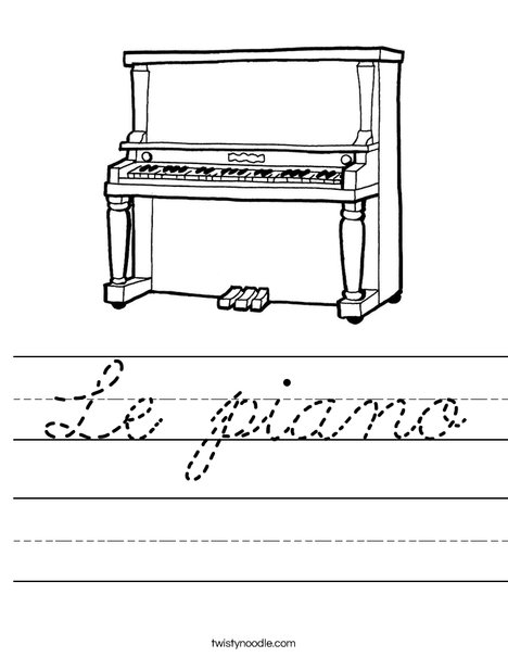 Upright Piano Worksheet