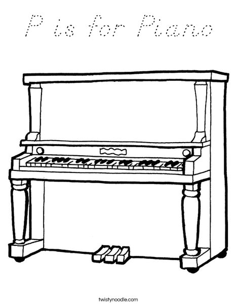 Upright Piano Coloring Page
