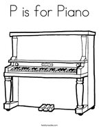 P is for Piano Coloring Page