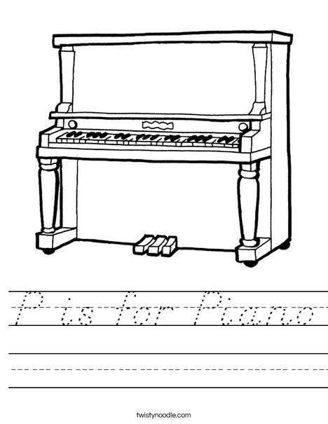 Upright Piano Worksheet