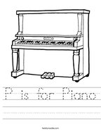P is for Piano Handwriting Sheet