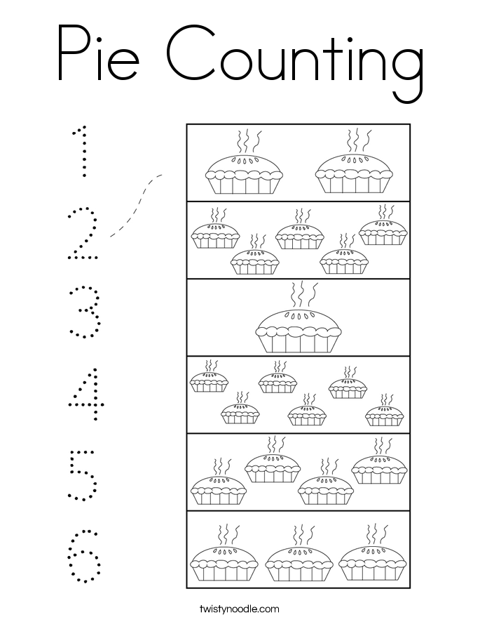 Pie Counting Coloring Page