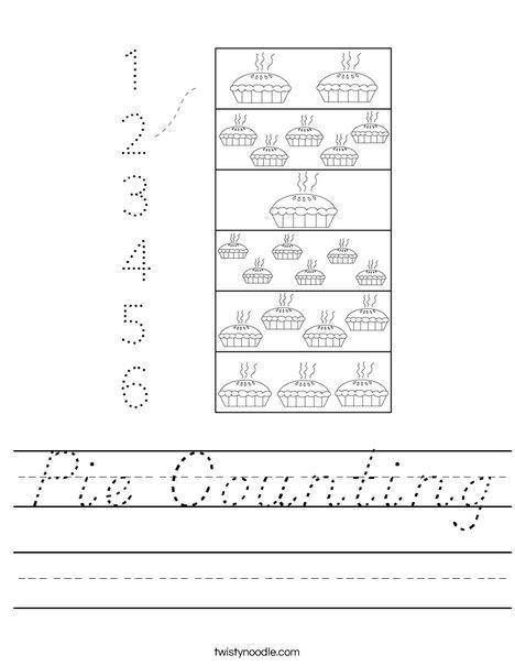 Pie Counting Worksheet