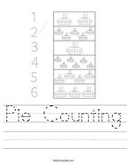 Pie Counting Handwriting Sheet