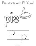 Pie starts with P Yum Coloring Page