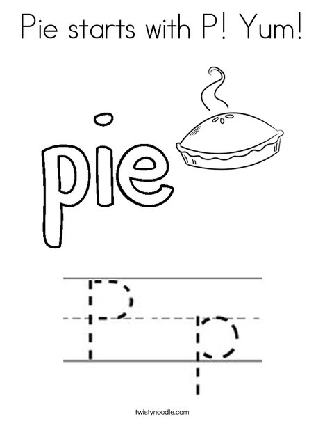 Pie starts with P! Yum! Coloring Page