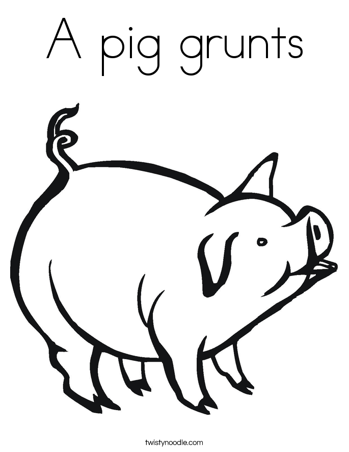 A pig grunts Coloring Page
