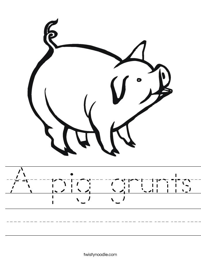 A pig grunts Worksheet