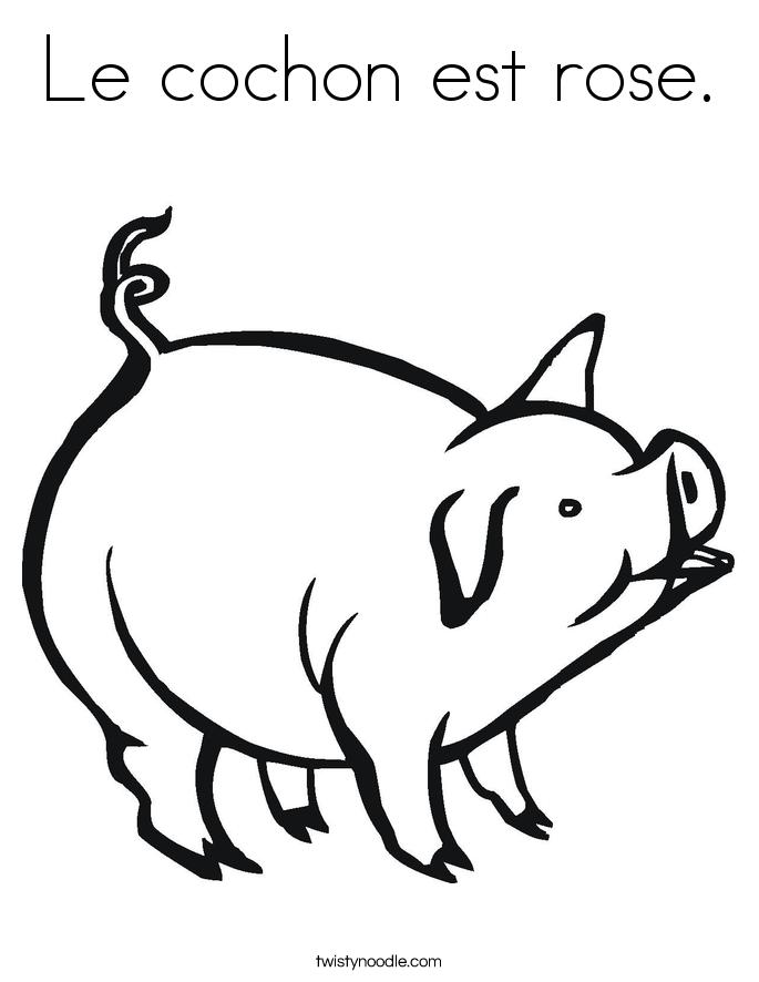 Le cochon est rose. Coloring Page