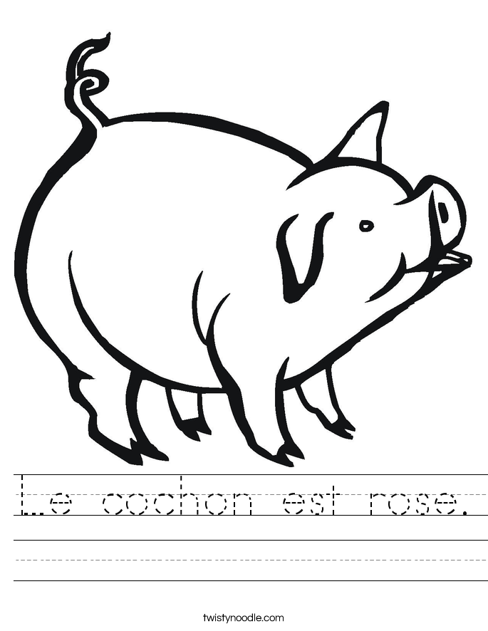Le cochon est rose. Worksheet