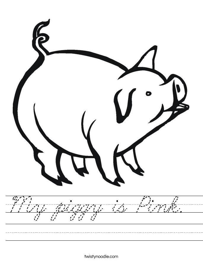 My piggy is Pink.  Worksheet