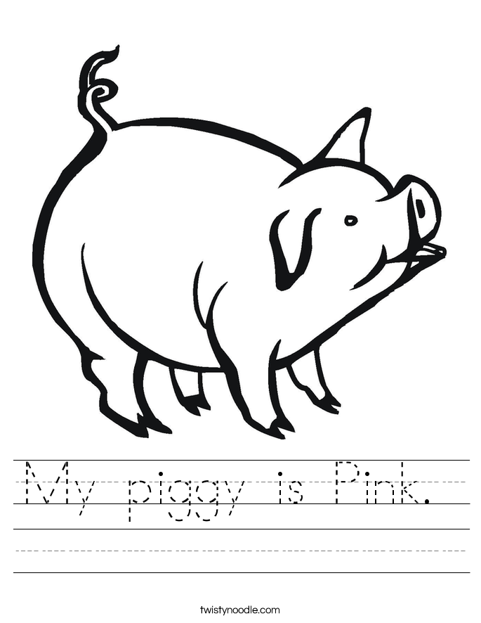 My piggy is Pink.  Worksheet